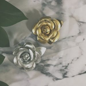 Set of Two Metallic Fabric Rose Brooches Pins